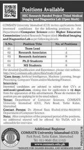 COMSATS University Jobs Islamabad December 2018 Latest
