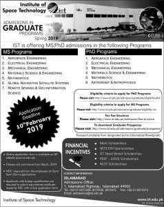 Institute of Space Technology  Spring ADMISSIONS 2019 Latest
