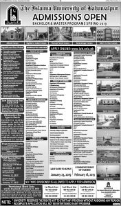 Islamia University Bahawalpur Admission Spring 2019 Latest