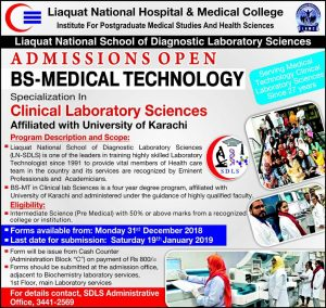 Liaquat National Hospital and Medical College BS-Medical Technology Admission 2019