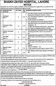 Sheikh Zaid Hospital Lahore December 2018 Jobs Latest