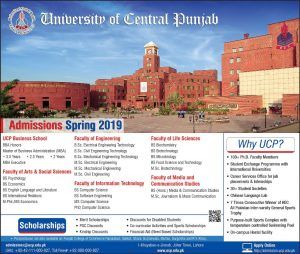 UCP-University of Central Punjab Admission Spring 2019 Latest