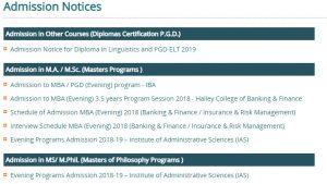 University of the Punjab-PU Admissions 2019