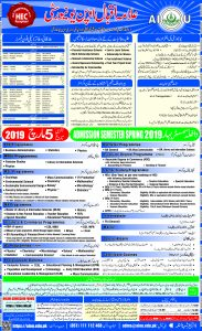 AIOU Admission Advertisement Spring 2019 Last Date 05-03-2019