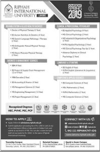 Admission Open in Ripha International University Lahore January 2019