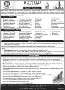 Balochistan University Of Information Technology Engineering & Management Sciences Quetta Jobs January 2019 For Faculty Staff