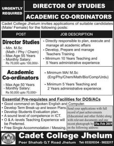 Cadet College Jehlam Jobs January 2019 for Director Study, Academy Coordinator