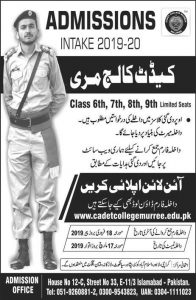 Cadet College Murree Admissions January 2019