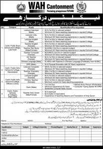 Cantonment Board Public School & Colleges Wah Jobs January 2019 For Faculty Staff