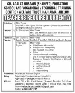 Ch Adalat Hussain Shaheed Education School and Vocational Technical Training Centre Jobs January 2019