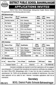 DPS Bahawalnagar Jobs January  2019