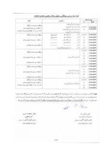 Date Sheet 9th & 10th 2019 All Punjab BISE Boards