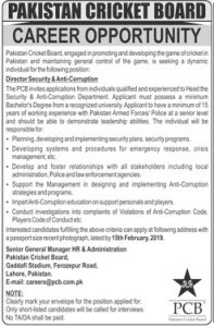 Director Security & Anti Corruption jobs in Pakistan Cricket Board in Lahore January 2019