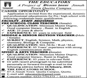 Faculty Staff jobs in The Educators in Quetta January 2019
