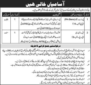 Head Quarter Multan Log Area Multan Cannt Jobs January 2019 for PA Steno, LDC