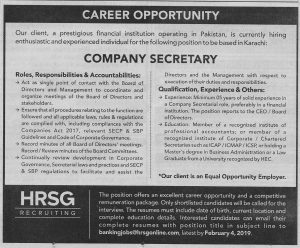 Hrsg Recruiting Karachi Jobs January 2019 For Company Secretary