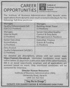 Institute Of Business Administration Karachi Jobs January 2019 For Manager, Senior Executive