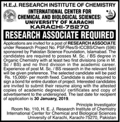International Center For Chemical and Biological Sciences Karachi Jobs January 2019 For Research Associate