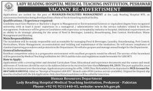 Lady Reading Hospital Medical Teaching Institution Peshawar Jobs January 2019 For Manager Facilities Management