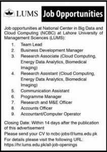 Lahore University Of Management Sciences Lahore Jobs January 2019 For Business Development Manager