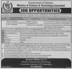 Ministry Of Science and Technology Islamabad Jobs January 2019 For Director General