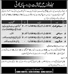 Mujahid Force Pak Army Jobs January  2019 for Soldier