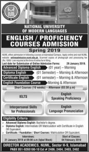 NATIONAL UNIVERSITY  OF MODERN LANGUAGES  ENGLISH  PROFICIENCY  COURSES_ADMISSION  Spring 2019