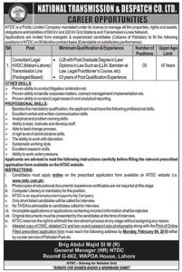 National Transmission & Dispatch Company Limited Lahore Jobs January 2019 For Consultant Legal