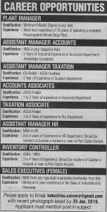 Plant Manager Jobs In Pakistan January 2019