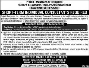 Primary & Secondary Healthcare Department Jobs January 2019