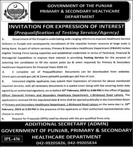 Primary & Secondary Healthcare Department Jobs for Expression of Interest