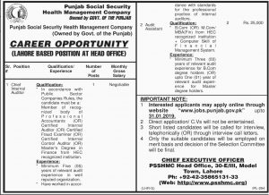 Punjab Social Security Health Management Company Lahore Jobs January 2019 For Chief Internal Auditor