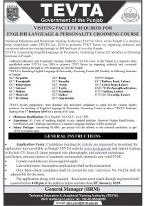 Tevta Jobs for Visiting faculty required English Language & Personality Grooming Course