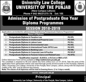 University Law College University Of The Punjab Lahore Admissions January 2019 Adds