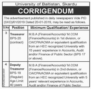University Of Baltistan Skardu Jobs January 2019 For Treasurer