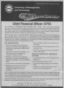 University Of Management and Technology Lahore Jobs January 2019 For Chief Financial Officer