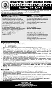 University of Health Sciences Admission open for Post Graduates