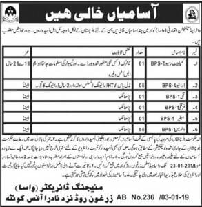 Water and Sanitation Authority (WASA) Quetta Jobs January 2019 Plus 94