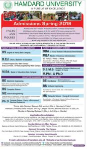 Admission Hamdard University Karachi for BS, B.Ed, MBA, M.Ed, M.Phil, Ph.D, MS, BS, BE, and more