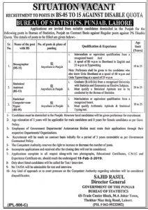Bureau Of Statistics Lahore Jobs For Stenographer February 2019