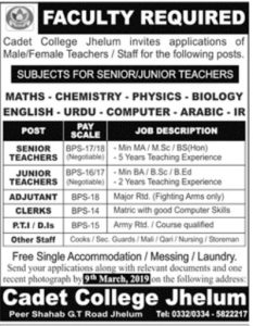 Cadet College Jehlum Jobs for Teaching Staff