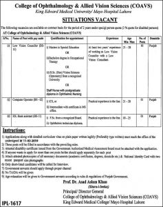 College of Ophthalmology & Allied Vision Science (COAVC) Mayo Hospital Lahore Jobs for Low Vision Councilor, Computer Operator