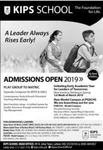 KIPS School Admissions 2019 for Play to Matric