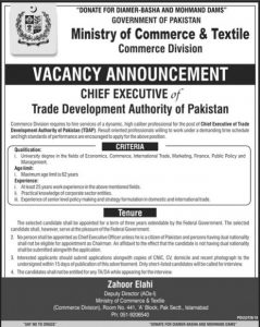 Ministry of Commerce & Textile Commerce Division Jobs 2019 for Chief Executive of Trade Development Authority of Pakistan
