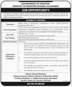 Ministry of Maritime Affairs Islamabad Jobs 2019 for Chairman