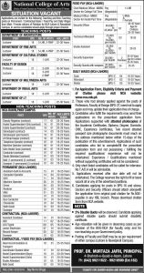 Ministry of federal Education and Professional Training Govt. of Pakistan Jobs 2019 - National College of Arts for Professor, Lecturer
