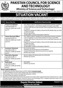Pakistan Council For Science & Technology Islamabad Jobs 2019 For Research Officer Latest