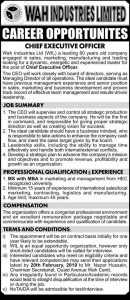 WAH Industries Limited Jobs 2019 for Chief Executive Officer