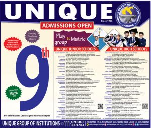 Admissions Unique Group of Institutions Lahore for Play to Matric 2019