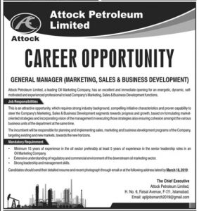 Attock Petroleum Limited Islamabad Jobs 2019 for General Manager (Marketing Sales & Business Development